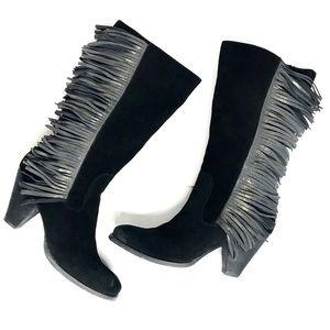 REBA Fringe Cowboy Boots Suede Leather Black 9.5